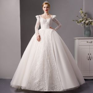 Luxury / Gorgeous Ivory Wedding Dresses 2019 Princess Scoop Neck Long Sleeve Backless Handmade  Beading Glitter Tulle Royal Train Ruffle