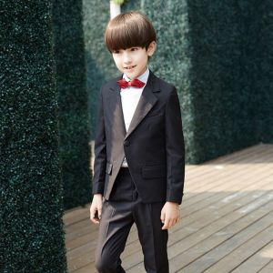Modern / Fashion Black Long Sleeve Boys Wedding Suits 2017