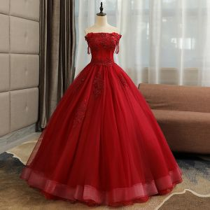 Affordable Quinceañera Burgundy Prom Dresses 2019 A-Line / Princess Crossed Straps Off-The-Shoulder Short Sleeve Beading Tassel Appliques Lace Floor-Length / Long Ruffle Backless Formal Dresses