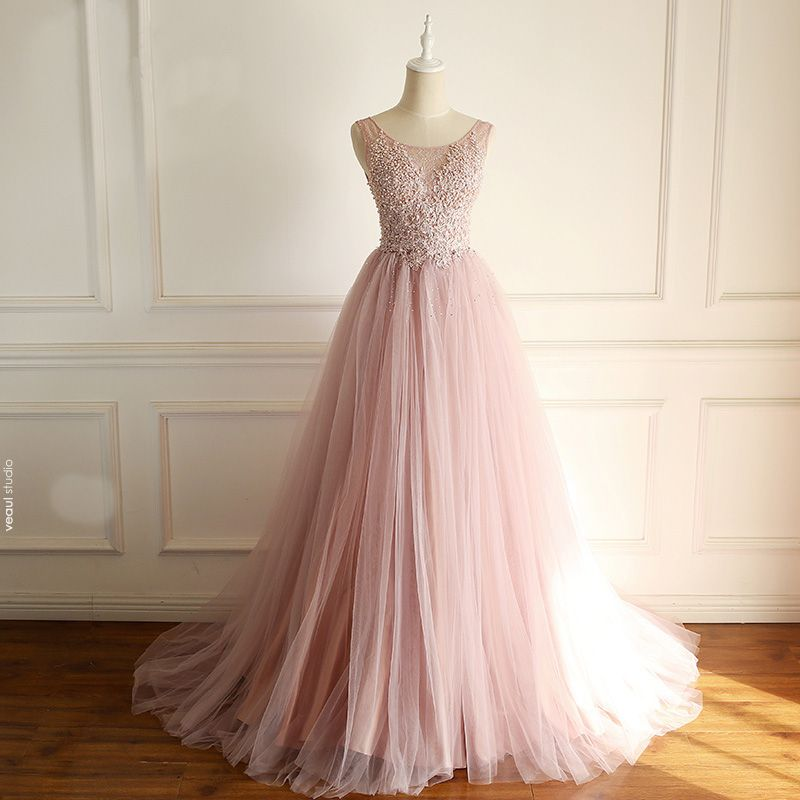 Chic / Beautiful Blushing Pink Prom Dresses 2018 A-Line / Princess Lace Appliques Beading Pearl Rhinestone Scoop Neck Sleeveless Sweep Train Formal Dresses
