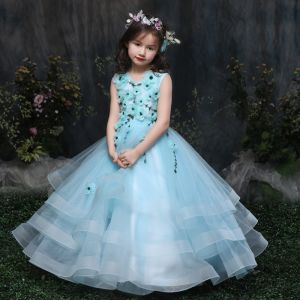 Chic / Beautiful Church Wedding Party Dresses 2017 Flower Girl Dresses Sky Blue Ball Gown Floor-Length / Long Scoop Neck Sleeveless Beading Flower Appliques