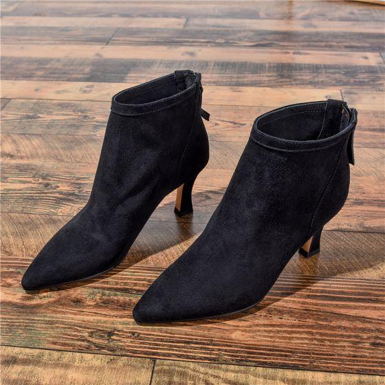 Mote Svart Casual Kvinners støvler 2020 Lær Suede 7 cm Stiletthæler Spisse Boots