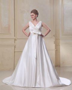 Schärpe Rüschen V-ausschnitt Gericht Brautkleider Große Größen Brautkleider