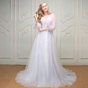 Schöne Weiß Abendkleider 2017 U-Ausschnitt Chiffon Applikationen Rückenfreies Stickerei Riemchen Festliche Kleider