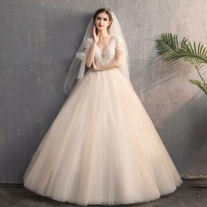 Chic / Beautiful Champagne Outdoor / Garden Wedding Dresses 2019 A-Line / Princess Deep V-Neck Short Sleeve Backless Appliques Lace Beading Sequins Sweep Train Ruffle