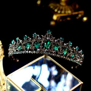 Vintage / Retro Baroque Green Rhinestone Tiara 2019 Metal Bridal Hair Accessories
