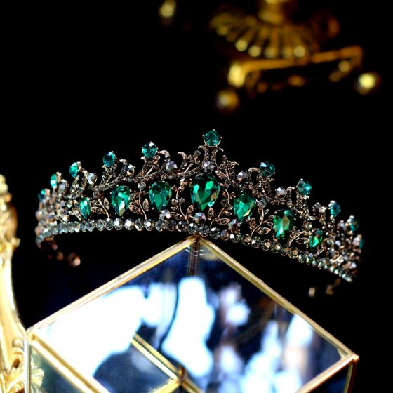 Vintage / Retro Baroque Green Rhinestone Tiara 2019 Metal Bridal Hair Accessories