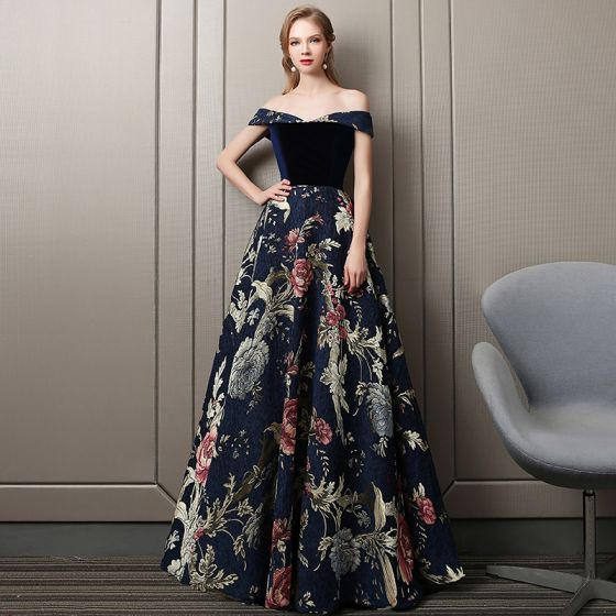 Colored Navy Blue Evening Dresses  2018 A-Line / Princess Suede Printing Off-The-Shoulder Sleeveless Backless Floor-Length / Long Formal Dresses