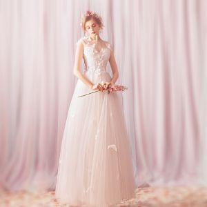 Affordable White Butterfly Appliques Lace Outdoor / Garden Wedding Dresses 2020 A-Line / Princess See-through Square Neckline Sleeveless Backless Floor-Length / Long Ruffle