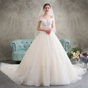 Elegant Champagne Wedding Dresses 2018 Ball Gown Appliques Lace Off-The-Shoulder Backless Sleeveless Cathedral Train Wedding