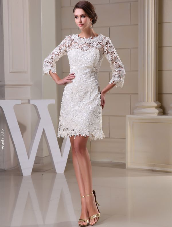 Charming A-line 3/4 Sleeves Pierced Lace Short Wedding Dress Bridal Gown