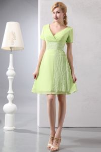 2015 Consummate Chiffon V-neck Short bridesmaid dress