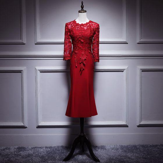 Eleganckie Burgund Sukienki Na Wesele Dla Mamy 2019 Wycięciem 34