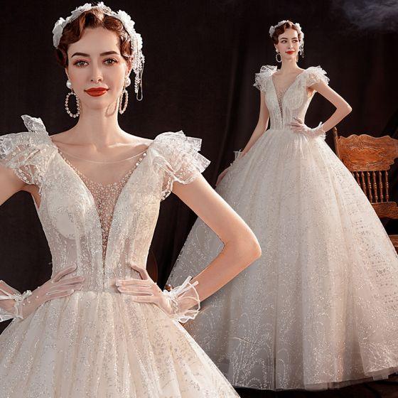 Affordable White Outdoor / Garden Wedding Dresses 2021 Ball Gown See-through Deep V-Neck Sleeveless Backless Glitter Tulle Floor-Length / Long Ruffle
