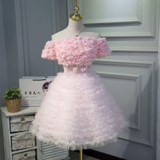 Lovely Candy Pink Party Dresses 2018 A-Line / Princess Appliques Off-The-Shoulder Backless Short Sleeve Short Formal Dresses