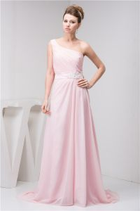 2015 Elegant One Shoulder Appliques Sash Pleated Long Evening Dress
