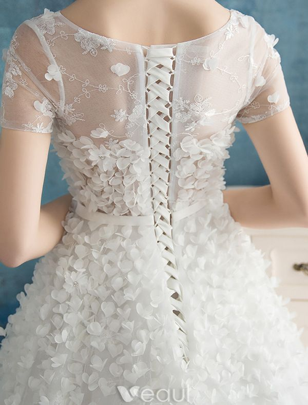 Beautiful Petals Wedding Dresses 2016 A-line Square Neckline Handmade Bridal Gowns