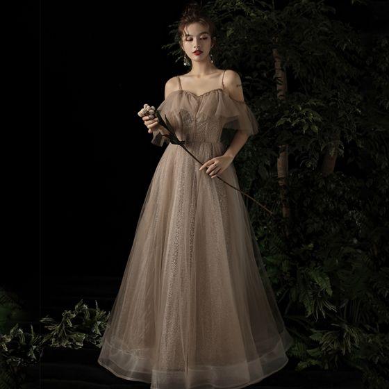 Eleganta Champagne Aftonklänningar 2019 Prinsessa Av Axeln Spaghettiband Korta ärm Beading Glittriga / Glitter Tyll Långa Ruffle Halterneck Formella Klänningar