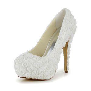 Belles Chaussures De Mariée Ivoire En Dentelle Stilettos De Fleurs Pumps De Plateforme