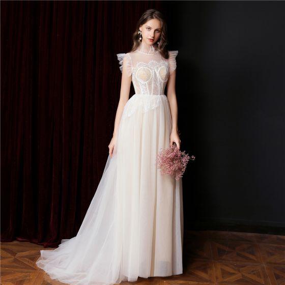 Vintage / Retro Champagne Lace Flower Prom Dresses Wedding Dresses 2021 A-Line / Princess High Neck Sleeveless Sweep Train Formal Dresses