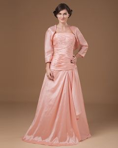 Taffeta Applique Pleated Strapless Ankle Length Mothers of Bride Guests Dresses