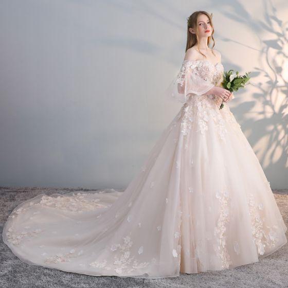 Eleganckie Szampan Suknie Ślubne 2017 Suknia Balowa Przy Ramieniu 3/4 Rękawy Bez Pleców Aplikacje Kwiat Perła Cekiny Trenem Kaplica