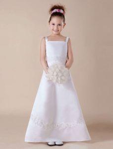 White Sleeveless Embroidery Satin Flower Girl Dress