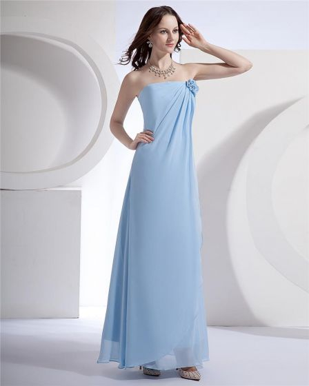 Women Chiffon Strapless Floor Length Bridesmaid Evening Dress Gown