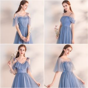 Affordable Sky Blue Bridesmaid Dresses 2019 A-Line / Princess Tea-length Ruffle Backless Wedding Party Dresses