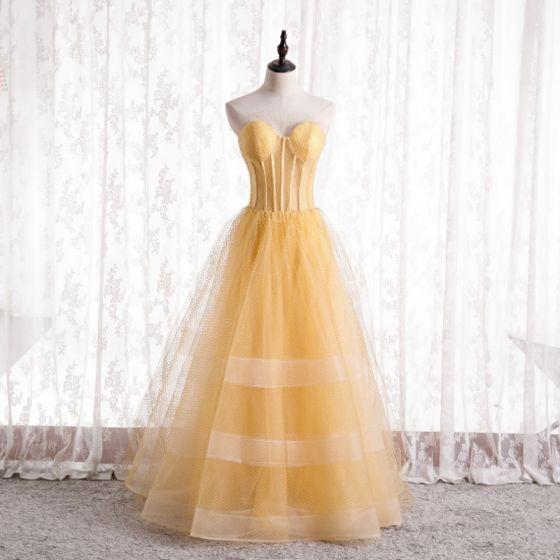 Elegancka Żółta Gorset Sukienki Na Bal 2021 Princessa Kochanie Bez Rękawów Bez Pleców Długie Sukienki Wizytowe