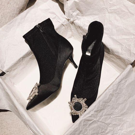 Chic Noire Désinvolte Bottes Femme 2020 Faux Diamant 9 cm Talons Aiguilles À Bout Pointu Bottes