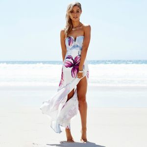 Zomer Strand Lavendel Maxi-jurken 2018 Strapless Mouwloos Het Drukken Bloem Split Voorzijde Enkellange Ruglooze Dameskleding