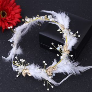 Bridal Hair Accessories Chic / Beautiful Bridal Jewelry 2017 White Gold Feather Rhinestone Metal Tiara