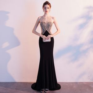Charming Black Evening Dresses  2019 Trumpet / Mermaid Scoop Neck Beading Rhinestone Sequins Sleeveless Backless Sweep Train Formal Dresses