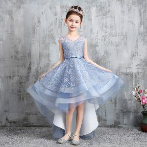 High Low Sky Blue Birthday Flower Girl Dresses 2020 A-Line / Princess V-Neck Sleeveless Appliques Lace Bow Sash Asymmetrical