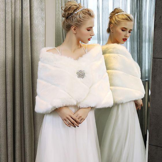 Białe Zima W paski Sztuczne Futro Ślub Wieczorowe Bal Szale 2017