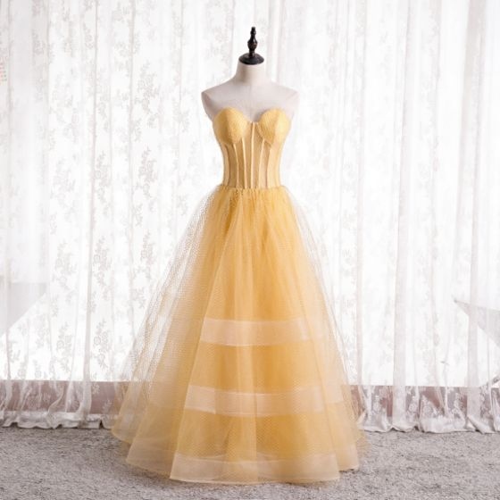 Elegante Amarillo Corsé Vestidos de gala 2021 A-Line / Princess Sweetheart Sin Mangas Sin Espalda Largos Vestidos Formales