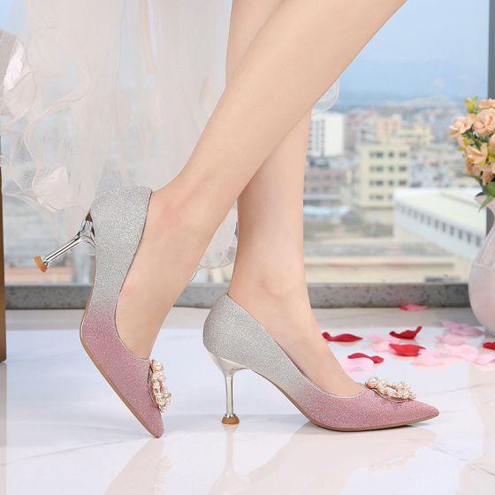 Stilettos Novia Fiesta Noche Perla Rhinestone Tacones 8 Poliéster Aguja Color Cm Rebordear Zapatos Degradado De Moda 2019 Mujer 5R3jAL4q