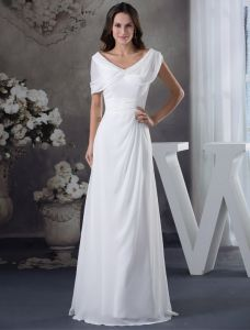 Unique V-neck Shoulders Beading Ruffle White Evening Dress