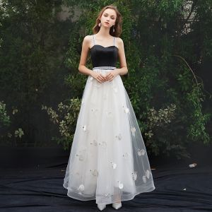 Modern / Fashion White Evening Dresses  2019 A-Line / Princess Spaghetti Straps Sleeveless Backless Appliques Floor-Length / Long Formal Dresses