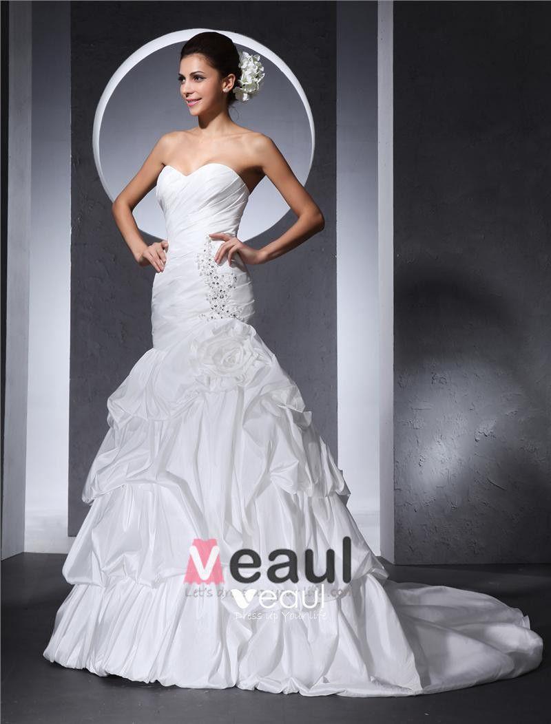 Sweetheart Beading Ruffle Flower Floor Length Taffeta Woman Ball Grown Wedding Dress