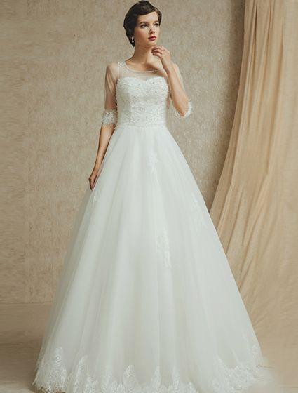 2015 A-line Shoulders Square Neckline 1/2 Sleeves Beading Backless Wedding Dress