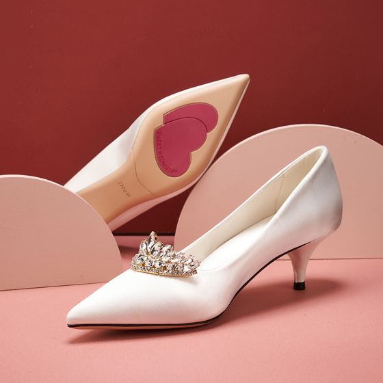 Élégant Ivoire Satin Chaussure De Mariée 2020 Faux Diamant 5 cm Talons Aiguilles À Bout Pointu Mariage Escarpins