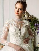 Épaules Main Exquis Robe De Mariée Manches 3/4 En Dentelle Appliques Balle Robe De Mariée