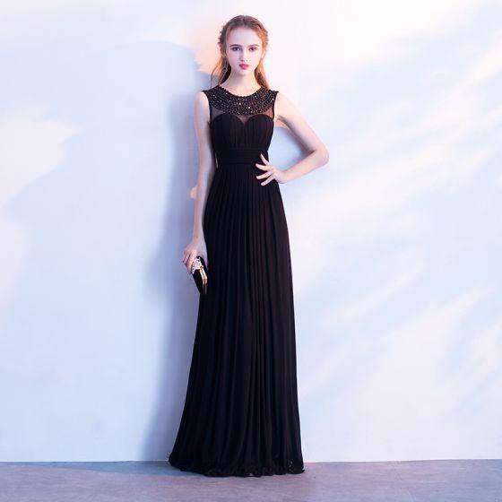 Schöne Schwarz Abendkleider 2017 A Linie Rundhalsausschnitt Perlenstickerei Perle Ärmellos Lange Rückenfreies Festliche Kleider