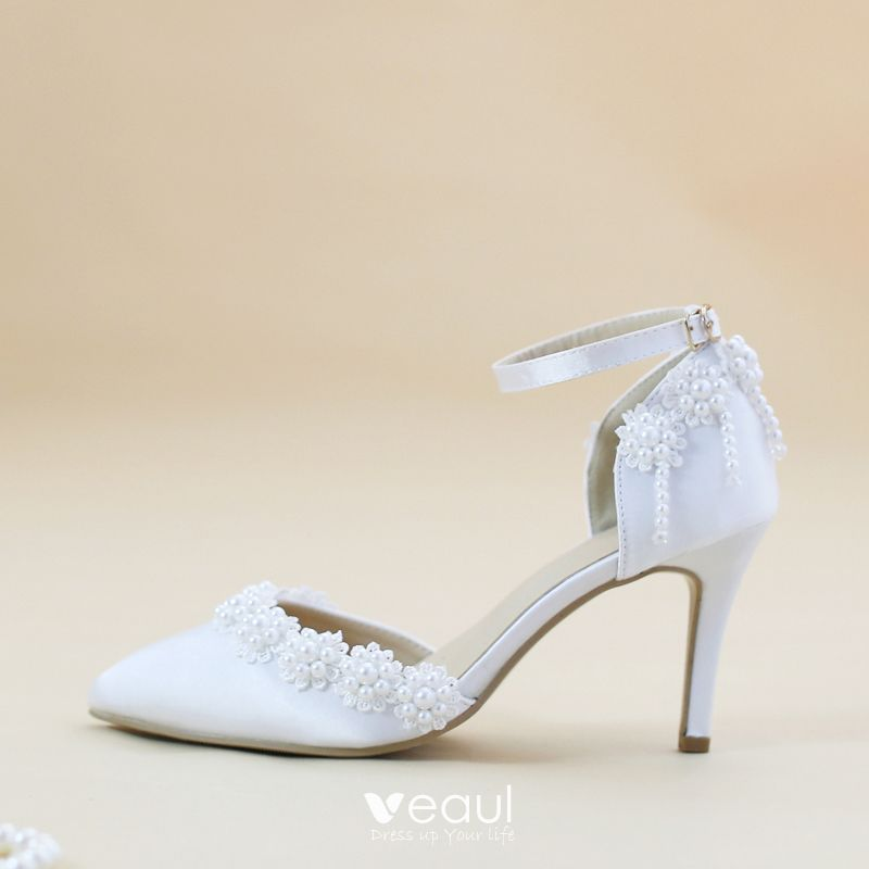 Modest Simple White 8 Cm Satin Wedding High Heels Beading Pearl Pointed Toe Wedding Shoes 2018