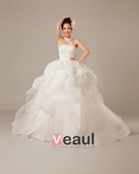 Applique Halfter Rüschen Tüll Ballkleid Brautkleid