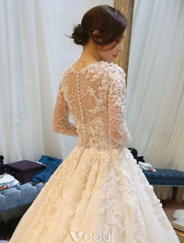 Herrliche Brautkleider 2016 Spitzeblumen Backless Tulle Hochzeitskleid Mit Langen Ärmeln