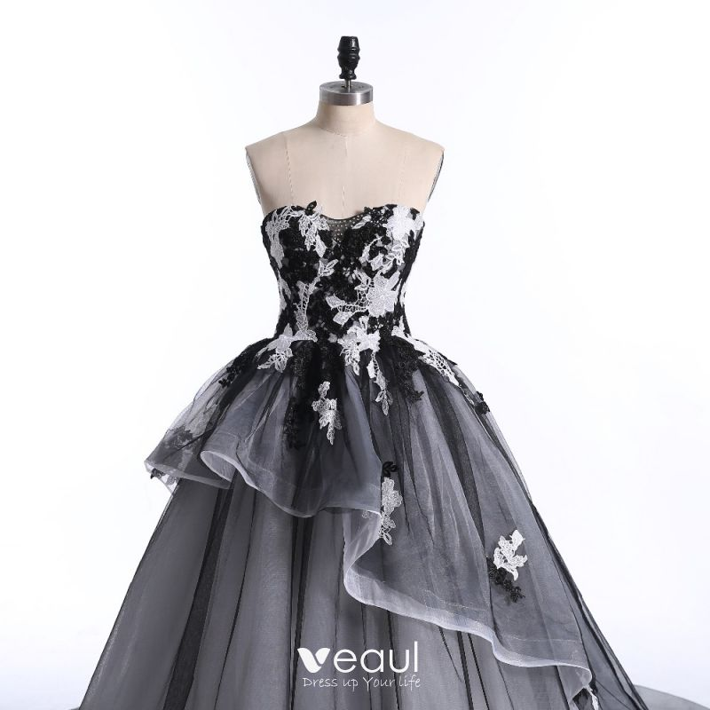 Gorgeous Sheer Ball Gown Wedding Dresses 2017 Puffy Beaded: Chic / Beautiful White Black Prom Dresses 2017 Ball Gown