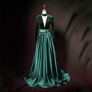Vintage / Retro Dark Green Suede Satin Evening Dresses  2019 A-Line / Princess High Neck See-through Deep V-Neck Sleeveless Sash Floor-Length / Long Ruffle Backless Formal Dresses